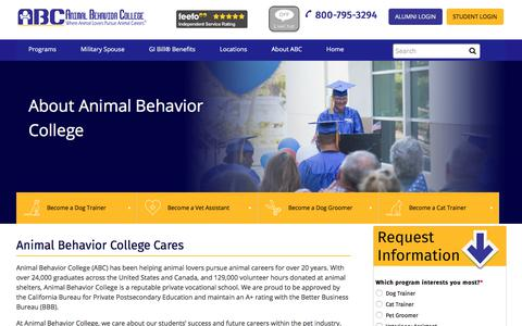 Screenshot of About Page animalbehaviorcollege.com - About Us | Animal Behavior College - captured July 30, 2018