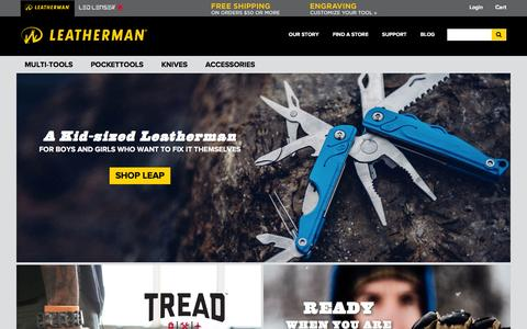 Screenshot of Home Page leatherman.com - Leatherman Multi-Tools, Knives, and Pocket Tools - captured Jan. 22, 2016