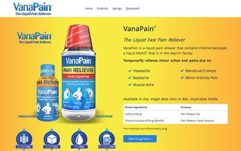 Screenshot of Products Page vanapain.com - VanaPain - The Liquid Pain Reliever - captured Jan. 24, 2016