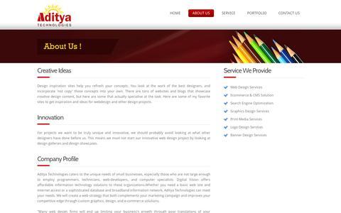 Screenshot of About Page aditechsoft.com - Aditya Technologies: Web Design Firms | Best Design Team | e-commerce website design - captured Oct. 4, 2014