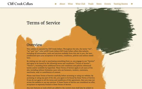 Screenshot of Terms Page cliffcreek.com - Terms of Service – Cliff Creek Cellars - captured Nov. 7, 2016