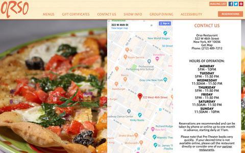 Screenshot of Contact Page orsorestaurant.com - Contact Us | Address | Map | Orso Restaurant - captured Nov. 7, 2018