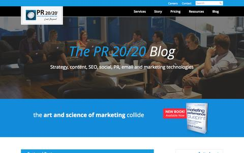 Screenshot of Blog pr2020.com - Inbound Marketing Resource Blogs | PR 20/20 - captured Sept. 19, 2014