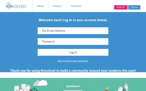 Screenshot of Login Page kinvolved.com - Log in to Kinvolved - captured Nov. 5, 2015