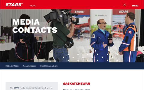 Screenshot of Press Page stars.ca - Media Contacts | STARS Air Ambulance - captured Sept. 30, 2018