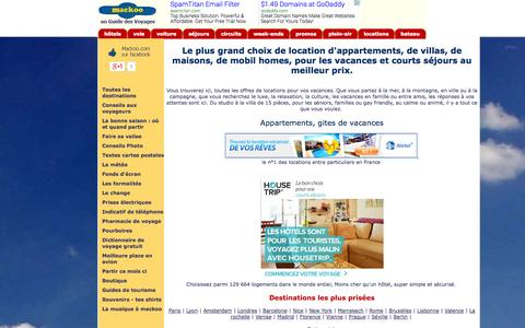 Screenshot of Locations Page mackoo.com - Locations de vacances mer, montagne, campagne, ville, France Europe monde - captured Nov. 1, 2014