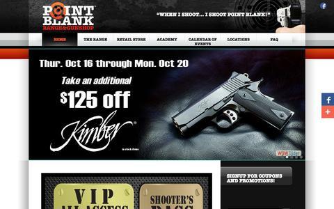 Screenshot of Home Page shootpointblank.com - Point Blank Indoor Shooting Range & Gun Shop | Cincinnati Ohio - captured Oct. 2, 2014