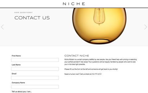 Screenshot of Contact Page nichemodern.com - Contact Niche Modern for Modern Lighting - captured Sept. 23, 2016
