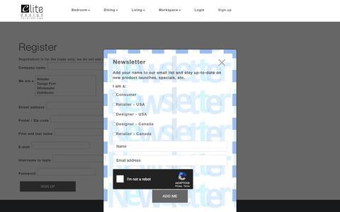 Screenshot of Signup Page elitedesignfurn.com - Sign up - Elite Design Furnishings - captured Sept. 27, 2018