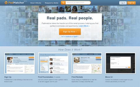 Screenshot of Home Page padmatcher.com - PadMatcher | Apartment & Roommate Matching - captured July 11, 2014