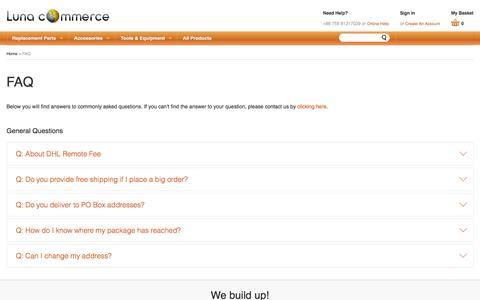 Screenshot of FAQ Page lunacommerce.com - FAQ - Luna Commerce - captured July 19, 2016