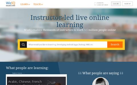 Screenshot of Home Page wiziq.com - Making Online Learning and Teaching Easier and Affordable | WizIQ - captured July 11, 2014
