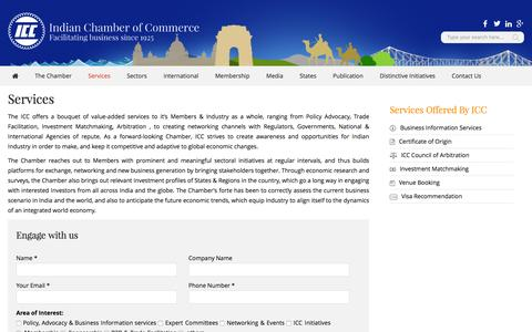 Screenshot of Services Page indianchamber.org - Services – Indian Chamber of Commerce - captured Jan. 5, 2017