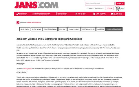 Screenshot of Terms Page jans.com - jans.com Website and E-Commerce Terms and Conditions - captured Jan. 16, 2016