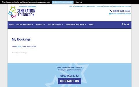 Screenshot of Login Page generation-foundation.com - My Bookings | Generation Foundation - captured Oct. 28, 2014