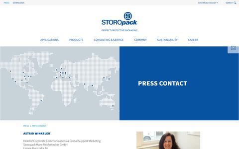 Screenshot of Press Page storopack.com.au - Press Contact - captured Nov. 5, 2019