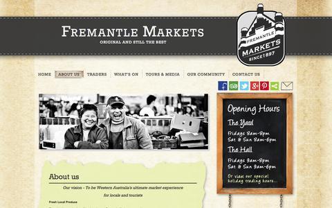 Screenshot of About Page fremantlemarkets.com.au - About us  | Fremantle Markets - captured Sept. 30, 2014