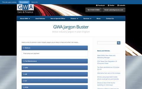 Screenshot of FAQ Page gwacars.com - GWA Jargon Buster | GWA Cars & Finance - captured Oct. 1, 2014