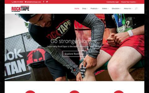 Screenshot of Home Page rocktape.com - RockTape | Kinesiology Tape – Go Stronger, Longer. - captured Jan. 22, 2015