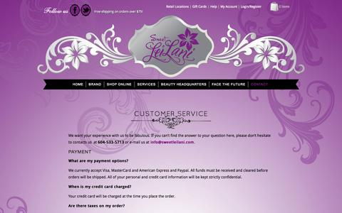 Screenshot of Privacy Page Support Page sweetleilani.com - Customer Service - Sweet LeiLani - captured Oct. 26, 2014