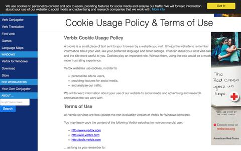 Screenshot of About Page Terms Page verbix.com - Verbix: Terms of use - captured Oct. 11, 2016
