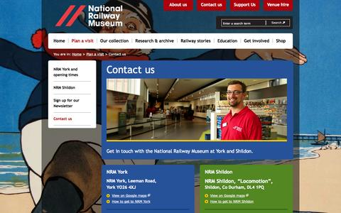 Screenshot of Contact Page nrm.org.uk - Contact us - Plan a visit - National Railway Museum - captured Oct. 26, 2014