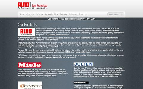 Screenshot of Products Page alnosf.com - Our Products - ALNO San Francisco - captured Oct. 4, 2014