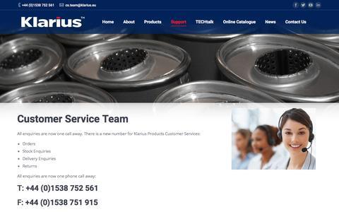 Screenshot of Support Page klarius.eu - Support | Klarius - captured Sept. 20, 2018