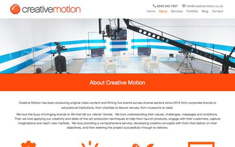Screenshot of About Page creativemotion.co.uk - About Creative Motion - captured Nov. 13, 2016