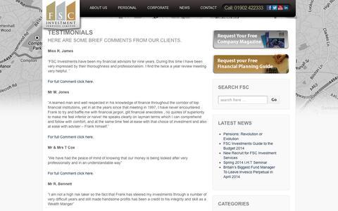 Testimonials  | FSC Investments