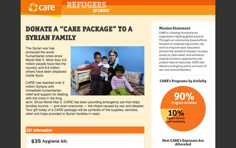 "Screenshot of Landing Page care.org - DONATE A ""CARE PACKAGE"" TO A SYRIAN FAMILY - CARE: Donate Now - captured Aug. 19, 2016"