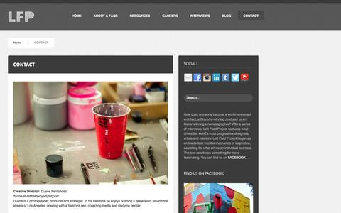 Screenshot of Contact Page leftfieldproject.com - Contact    Left Field Project - captured Sept. 29, 2014