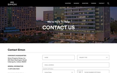 Screenshot of Contact Page simon.com - Contact The Simon Team With Your Question, Inquiry Or Support Request - We Are Here To Help - captured Jan. 26, 2018