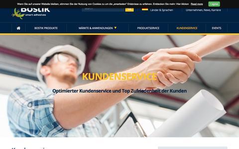 Screenshot of Support Page bostik.com - Kundensupport   Kundenservice   Bostik - captured May 7, 2018