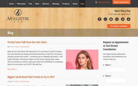 Screenshot of Press Page spamiamibeach.com - Miami Beach Fashion Hair & Beauty Trends | McAllister Spa | Blog - captured Oct. 18, 2017