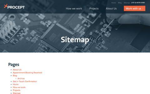 Screenshot of Site Map Page procept.com.au - Sitemap - Procept - captured May 23, 2017