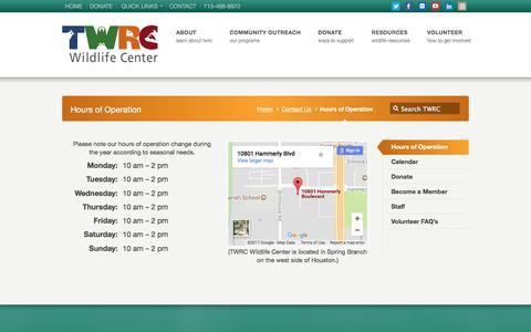 Screenshot of Hours Page twrcwildlifecenter.org - Hours of Operation | TWRC Wildlife Center - captured Nov. 4, 2017