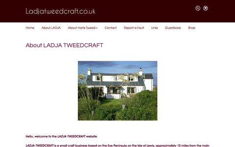 Screenshot of About Page ladjatweedcraft.co.uk - LADJA TWEEDCRAFT - HAND MADE HANDBAGS, ACCESSORIES & SOFT FURNISHINGS FROM THE ISLE OF LEWIS - captured July 9, 2016