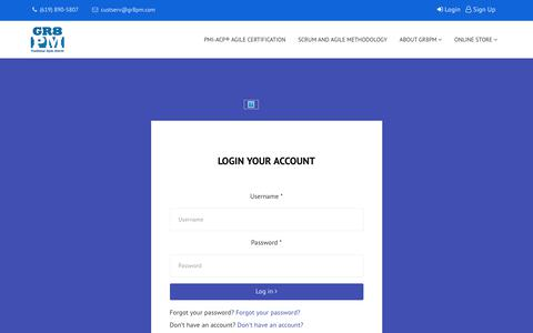 Screenshot of Login Page gr8pm.com - GR8PM PMI-ACP® Exam Prep  - Sign In - captured Sept. 26, 2018