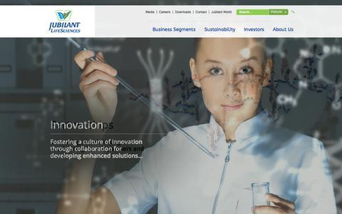 Screenshot of Home Page jubl.com - Jubilant Life Sciences - captured Sept. 25, 2014