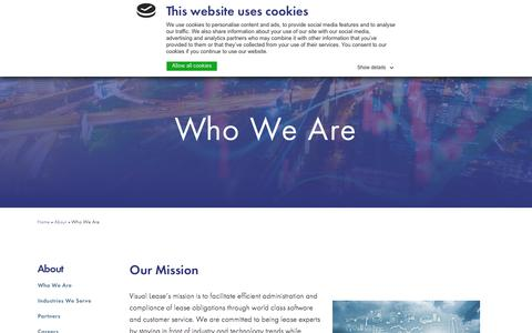 Screenshot of About Page visuallease.com - Who We Are - captured Sept. 20, 2018