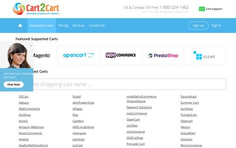 Screenshot of Support Page shopping-cart-migration.com - Shopping carts supported by Cart2Cart service - captured Aug. 25, 2016