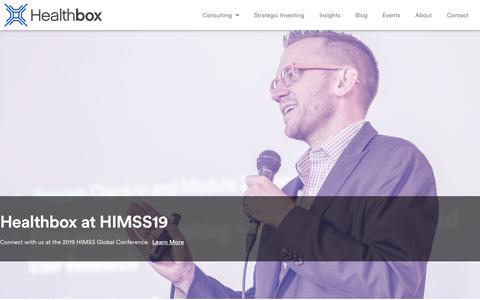 Screenshot of Home Page healthbox.com - Innovative Healthcare Advisory Firm | Healthcare Consulting | Healthbox - captured Feb. 5, 2019