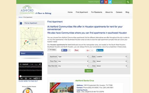 Screenshot of Maps & Directions Page ashfordco.com - Houston apartments for rent ,Find Apartments in southwest Houston |Ashford Comm. - captured Feb. 6, 2016