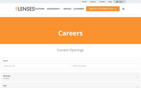 Screenshot of Jobs Page 9lenses.com - Join the 9Lenses team to grow your career - captured July 13, 2018