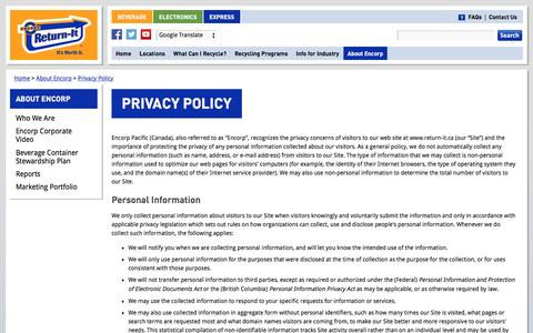 Screenshot of Privacy Page return-it.ca - Privacy Policy | Encorp Pacific (Canada) - captured Jan. 20, 2016