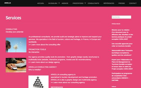Screenshot of Services Page arkellia.com - Services | Arkellia - captured Oct. 29, 2014