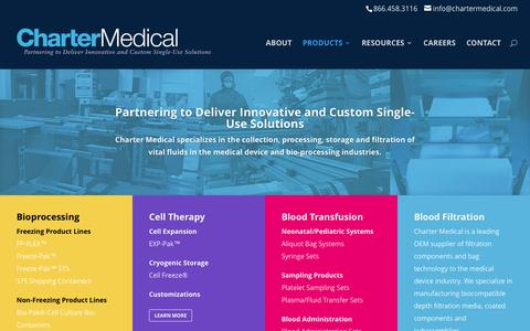 Screenshot of Products Page chartermedical.com - Products - Charter Medical - captured Nov. 4, 2016