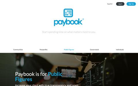 Screenshot of Home Page paybook.com - Paybook - Connecting you with your financial world - captured March 16, 2019