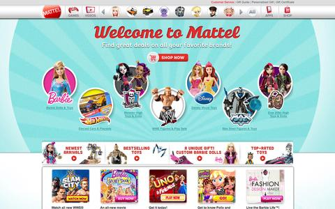 Screenshot of Home Page mattel.com - Play at Mattel.com, where we are creating the future of PLAY! - captured Sept. 18, 2014